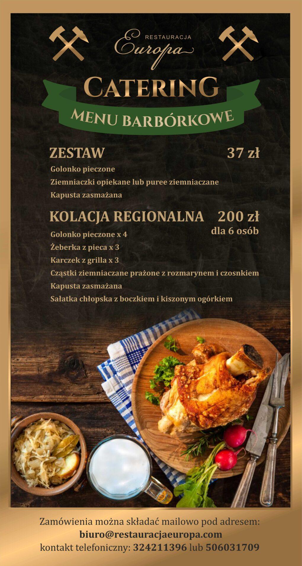 Catering Menu Barbórkowe 2020   Restauracja Europa Rybnik